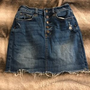 Button up dark wash jean skirt